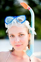 Portrait of snorkeling young adult woman