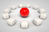 3d red sphere and white cubes representing idea of leadership