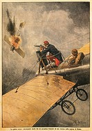 The War in Air: Duel between French plane and German one in sky over Reims, by Achille Beltrame 1871_1945, from La Domenica del Corriere, 25th October...