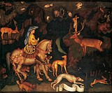 Vision of St Eustace, 1436_1438, by Antonio Pisano known as Pisanello ca before 1395_1455, tempera on wood, 65x53 cm