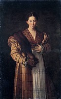 Portrait of a young woman or Courtesan Antea, 1536, by Francesco Mazzola, known as Parmigianino (1503-1540), oil on canvas, 136x86 cm.  Naples, Museo ...