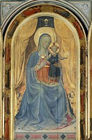 Tabernacle of the Linen Drapers, 1432-1433, by Giovanni da Fiesole known as Fra Angelico (1400-ca 1455), tempera on wood. Detail from the inner panel ...