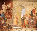 Magnanimity of Scipio, detail from Glories of Scipio Africanus and Alexander the Great, 1743, by Giambattista Tiepolo (1696-1770), fresco. Hall of Hon...