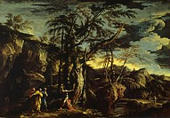 Landscape with the Baptist preaching, 1655-1660, by Salvator Rosa (1615-1673), oil on canvas, 173.4 x260.7 cm.  Glasgow, Glasgow Art Gallery And Museu...