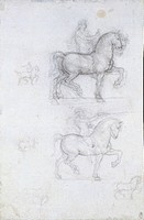 Study for an equestrian monument, 1517-1518, by Leonardo da Vinci (1452-1519), charcoal on paper, 27.8x18.4 cm.  Windsor, Windsor Castle, Royal Librar...