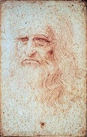 Self-portrait, 1512-1515, by Leonardo da Vinci (1452-1519). Red chalk on paper, 33.3x21.3 cm.  Turin, Biblioteca Reale (Library)