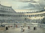 Bullfight in Rome, by Jean-Baptiste Thomas (1791-1834), Italy 19th Century.  Rome, Istituto Nazionale per la Grafica, Gabinetto Nazionale dei Disegni ...