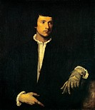 Man with a Glove, 1523, by Titian (ca 1490-1576), oil on canvas, 100 x 89 cm.  Paris, Musée Du Louvre