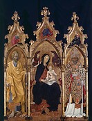Triptych of St Nicholas, ca 1440, by Giovanni di Paolo (ca 1403-1482).  Orvieto, Museo Claudio Faina (Archaeological Museum)