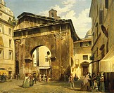 Portico of Octavia in Rome, 1869, by Luigi Bazzani 1836_1927, Italy