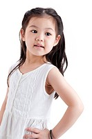 Little Asian girl in white dress on white background