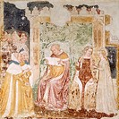 Embassy to the King of Brittany, detail from the Stories of St Ursula, by Tommaso da Modena (1326-1379), fresco. Detail. Church of Santa Caterina, Tre...
