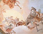 Wedding Allegory, by Giambattista Tiepolo (1696-1770), fresco. Detail. Ceiling of the Nuptial Allegory Room , Ca' Rezzonico (Rezzonico Palace), Venice...