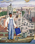 Juan O'Gorman (1905-1982). View of Mexico City. Detail.  Mexico City, Museo De Arte Moderno (Modern Art Museum)
