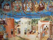 Christ-Vine and the Legend of Saint Barbara, 1524, by Lorenzo Lotto (ca 1480 - 1556), fresco. Detail. Villa Suardi, Capella Suardi, Trescore Balneario...