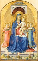 Madonna and Child enthroned with angels, detail from the central panel, Perugia Altarpiece, 1438, by Giovanni da Fiesole known as Fra Angelico 1400_ca...