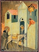 The blessed goes begging the materials to build the monastery, tile from the altarpiece of Blessed Humility, by Pietro Lorenzetti (ca 1280-1348), temp...