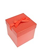Red Christmas Present, isolated w/clipping path