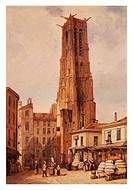France, 19th century. Paris, Saint-Jacques Tower. Drawing by François-Etienne Villeret (1800-1866).  Paris, Hôtel Carnavalet (Art Museum)