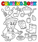 Coloring book with garden theme _ thematic illustration.