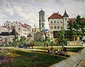 Graben Street (Ditch Street) and Maximilian Square in Munich, by Von Ruppert, Germany.  Monaco, Munchner Stadtmuseum (City Museum)
