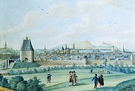View of Aachen from Burtsheid, 1796, Germany 18th Century. Watercolour.  Aquisgrana, Ludwig Forum Für Internationale Kunst (International Art Museum)