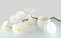 White orchid and skin cream