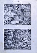 The quarries at Lavagna, ca 1830, Italy 19th Century. Lithograph (from a drawing by Teschiery).