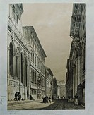 Glimpse of Genoa, Italy 19th Century. Engraving.  Genoa, Biblioteca Universitaria Di Genova (University'S Library)