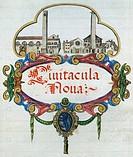 Ancient Roman gate shown on the valuation register of the city of Brescia, 1585, Italy 16th Century.  Brescia, Biblioteca Queriniana (Library)