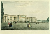 The garden facade of Schoenbrunn Castle in Vienna, Austria 19th Century.
