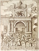 The gate to the Arsenal in Venice, 1610, by Giacomo Franco (1556-1620), engraving from Costumes of Venetian Men and Women. Italy 17th Century.  Floren...