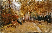 City Park, by Pietro Scoppetta (1863-1920), oil on panel, 10x16 cm.  Private Collection