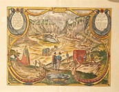 Cartography, Italy, 16th century. Solfatara at Campi Flegrei in Pozzuoli, Naples province. From Civitates Orbis Terrarum by Georg Braun (1541-1622) an...