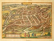 Cartography, Lithuania, 16th century. Vilnius. From Civitates Orbis Terrarum by Georg Braun (1541-1622) and Franz Hogenberg (1540-1590), Cologne. Engr...