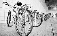 Bike parking area outside a public railway station in germany europe