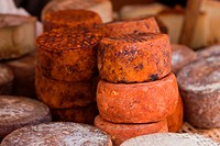 various red cheese type in country market