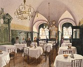 Restaurant hall in Vienna, by F. Kopellik (1860-1931), Austria 20th Century. Watercolour.  Vienna, Historisches Museum Der Stadt Wien (History Museum)