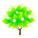 Green Tree Icon with flowers isolated on white