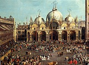 Bullfighting or Bull hunting in Piazza San Marco, by Giovanni Antonio Canal, known as Canaletto (1697-1768) and by Giovanni Battista Cimaroli (1687-af...