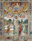 Martyrdom of St Sebastian, 1465, by Benozzo Gozzoli (1421-1497), fresco. Cathedral or Collegiate Church of Santa Maria Assunta, San Gimignano, Siena.