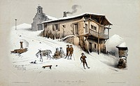 Postal station in the Pyrenees, 1850, France 19th Century.