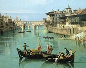 The Arno River and the Ponte Vecchio in Florence, 1742, by Bernardo Bellotto, known as Canaletto (1721-1780), oil on canvas, 50x75 cm. Detail.  Privat...