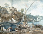 The port of Marechiaro, Naples, by Abraham-Louis-Rodolphe Ducros (1748-1810), Italy 18th century, detail  Losanna, Musée Cantonal Des Beaux-Arts (Fine...