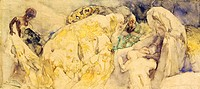 Adoration of the Magi, 1850, by Gaetano Previati (1852-1920), watercolor on paper, 23x52 cm.  Milano, Civiche Raccolte D'Arte Museo Dell'Ottocento Vil...