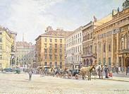 Freyung Square in Vienna, by Hans Enzinger (1889-1972), Austria 20th Century.  Vienna, Historisches Museum Der Stadt Wien (History Museum)