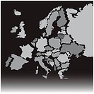 Europe map with each country named in separate layers for easy editing.