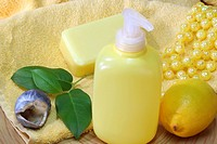 Lemon Soap and yellow accessories _ body care