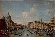 Italian, 18th century. Venice. The historical boat race on the Grand Canal. Painted by the Venetian School.  Venice, Museo Correr (Art Museum)