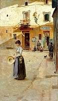 In the square, ca 1885, by Vittorio Matteo Corcos (1859-1933), oil on panel, 23x13 cm.  Private Collection